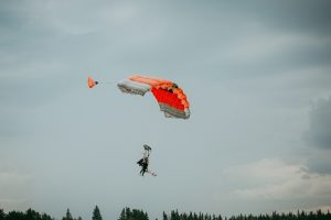 Two people paragliding together